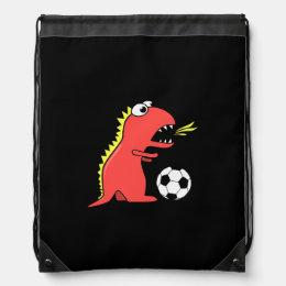 Black Funny Cartoon Dinosaur Soccer Drawstring Backpack