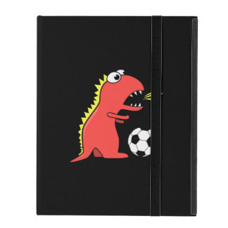 Black Funny Cartoon Dinosaur Soccer Strap Folio iPad Covers