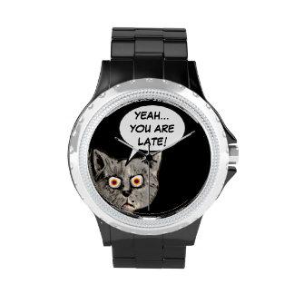 black funny cat speech balloon wrist watch