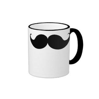 Black Funny Handlebar Mustache Moustache Stache Ringer Mug
