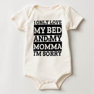Black Funny Only Love My Bed Momma Mom Mothers Day Baby Bodysuit