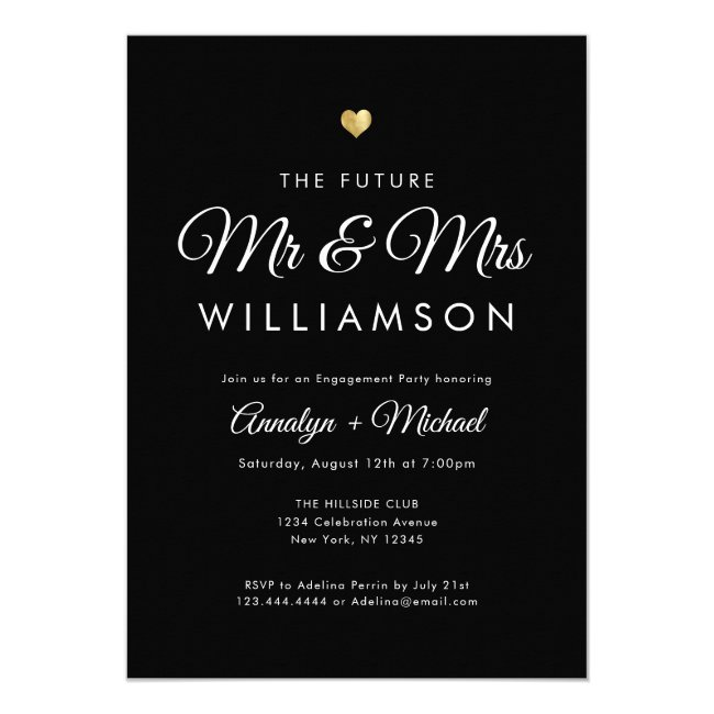 Black Future Mr and Mrs Gold Engagement Party Invitation