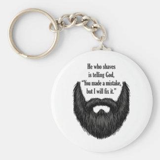 Black fuzzy beard basic round button keychain