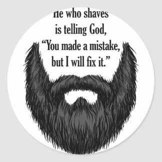 Black fuzzy beard classic round sticker