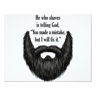 "Black fuzzy beard 4.25"" x 5.5"" invitation card"