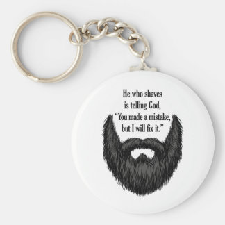 Black fuzzy beard keychain