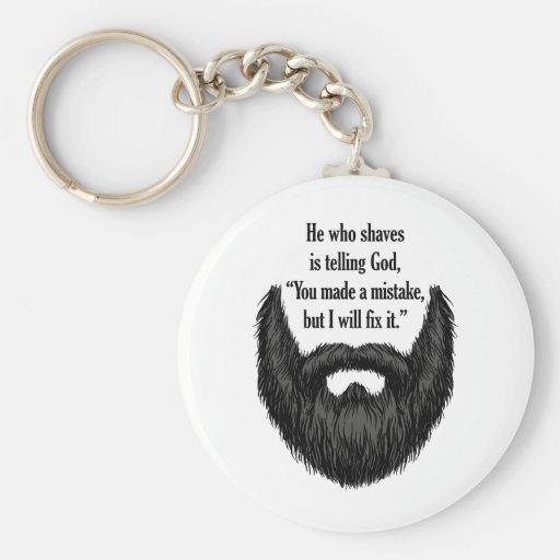 Black fuzzy beard key chain