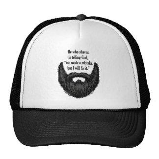 Black fuzzy beard trucker hat
