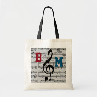 black G clef musical notes Tote Bag