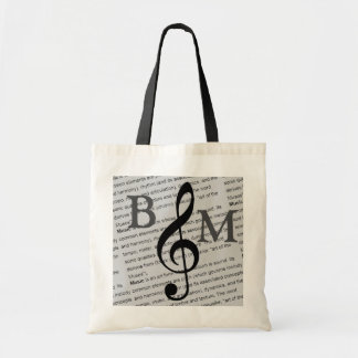 black G clef with definition of music personalized Tote Bag