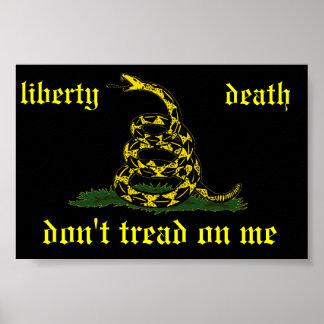 black Gadsden liberty or death flag Print