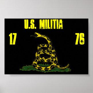 black Gadsden u s militia flag Posters