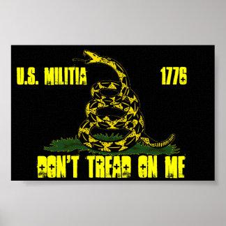 black Gadsden u s militia flag Print