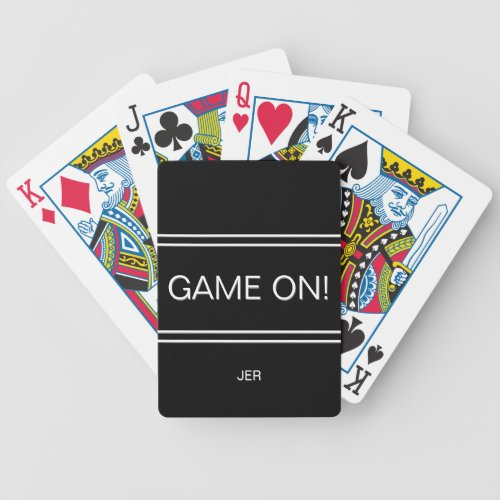 Black GAME ON Quote Custom Monogram Initials Bicycle Playing Cards