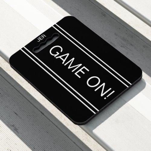 Black GAME ON Quote Monogrammed Stadium Sports Seat Cushion