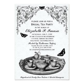 Black Garden Bridal Tea Party Invitations