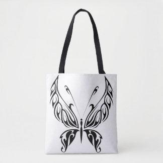 Black Garden Butterfly Tote Bag