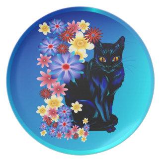Black Garden Kitty Plate