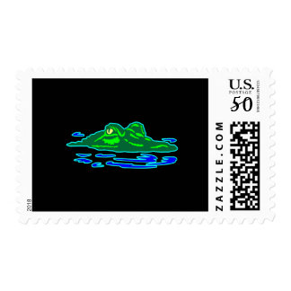 Black Gator In Water Postage