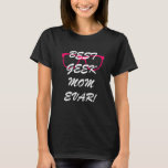 Black Geek  Mom Basic T-Shirt With Pink Glasses