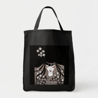 Black Geisha Canvas Tote Grocery Tote Bag