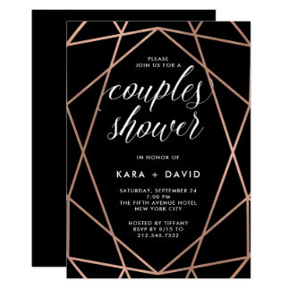 Black Geometric Faux Rose Gold Couples Shower Card
