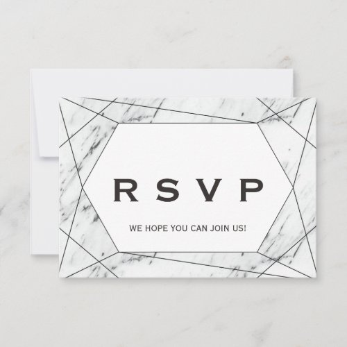 Black Geometric Marble Song Request RSVP Card