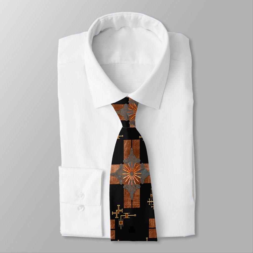 Black Geometric Metallic Abstract Design Tie