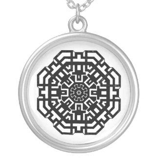 Black Geometric Pattern Silver Necklace
