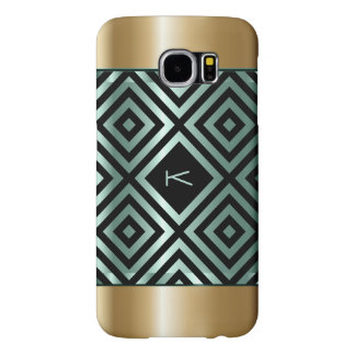 Black Geometric Pattern With Metallic Gold & Green Samsung Galaxy S6 Case