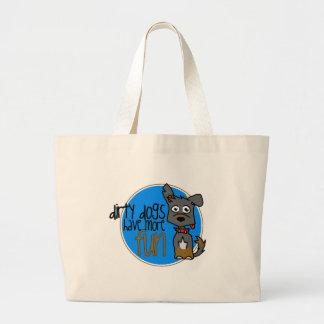 Black German Shepherd -Blue Logo Bags