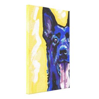 Black German Shepherd Canvas Wrapped Pop Art Canvas Print