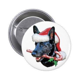 Black German Shepherd Christmas Button
