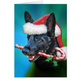 Black German Shepherd Christmas Card