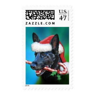 Black German Shepherd Christmas Postage