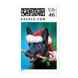 Black German Shepherd Christmas Postage Stamp