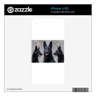Black German Shepherd Collage Skin For iPhone 4S