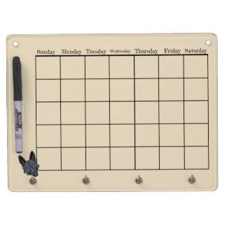 Black German Shepherd Dog Calendar Dry Erase Board With Keychain Holder