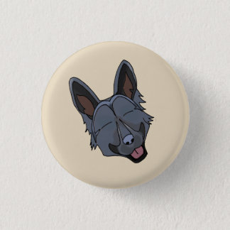 Black German Shepherd Dog Smiling Button