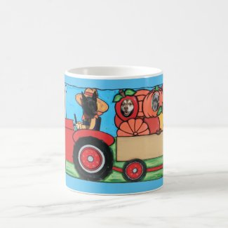Black German Shepherd Driving Tractor Train, ZKA Coffee Mug