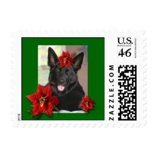 Black German Shepherd Holiday Stamp