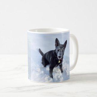 Black German Shepherd in the Snow Two Views, ZKA Coffee Mug