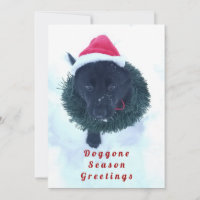 Black German Shepherd Puppy in a Wreath, ZKA Holiday Card