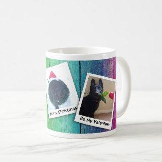 Black German Shepherd Puppy Winter Holiday Cl, ZKA Coffee Mug