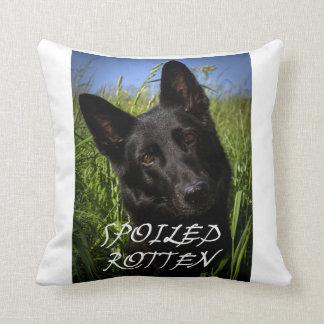 black german shepherd spoiled rotten throw pillow
