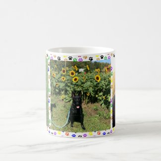 Black German Shepherd with Sunflowers & Toys, ZKA Coffee Mug