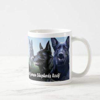 Black german Shepherds Rock Classic White Coffee Mug