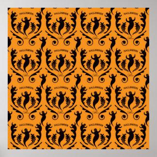 Black Ghost Damask on Orange Poster