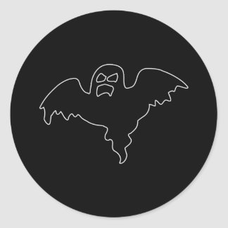 Black Ghost spooky image Classic Round Sticker
