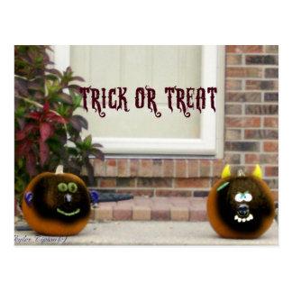 Black Ghoulie Faced Pumpkins on Doorstep Postcard